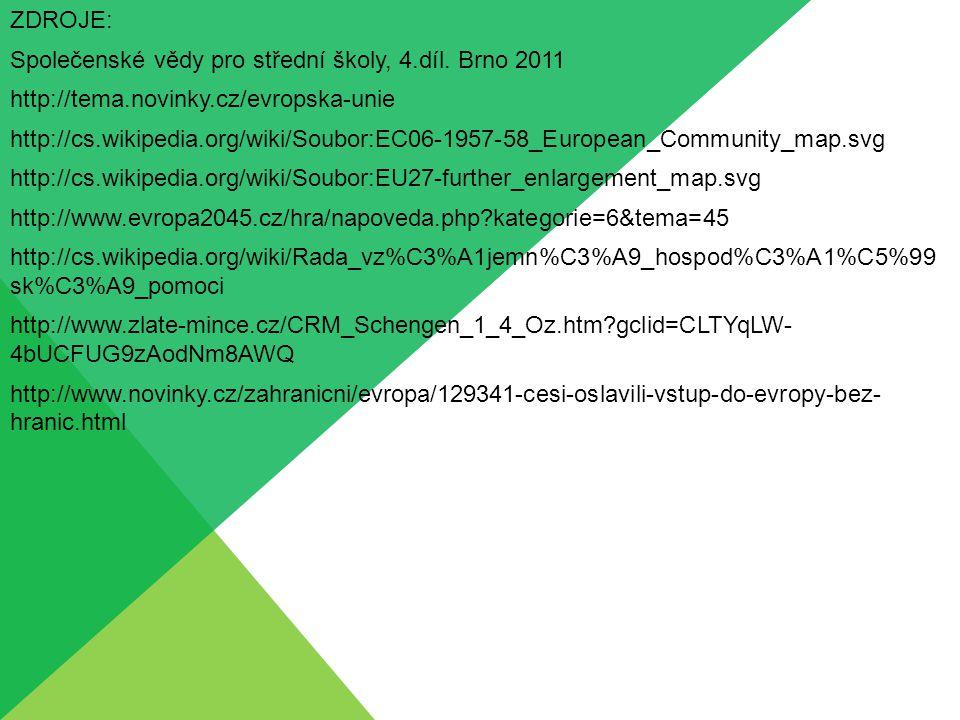 ZDROJE: Společenské vědy pro střední školy, 4.díl. Brno 2011 http://tema.novinky.cz/evropska-unie http://cs.wikipedia.org/wiki/Soubor:EC06-1957-58_Eur