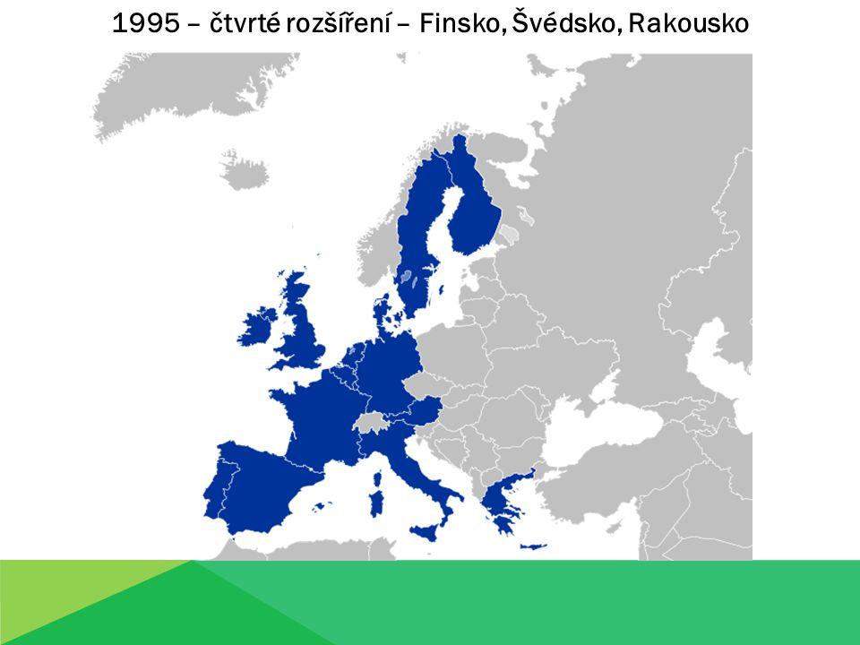 1995 – čtvrté rozšíření – Finsko, Švédsko, Rakousko