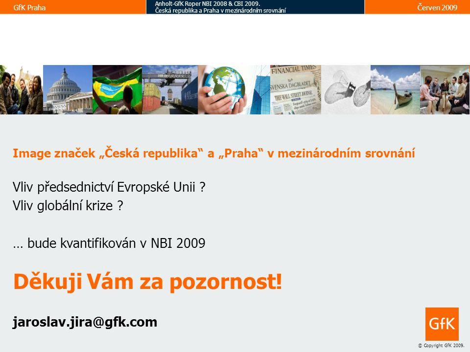 19 © Copyright GfK 2009.GfK Praha Anholt-GfK Roper NBI 2008 & CBI 2009.