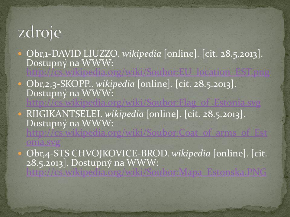 Obr,1-DAVID LIUZZO. wikipedia [online]. [cit. 28.5.2013]. Dostupný na WWW: http://cs.wikipedia.org/wiki/Soubor:EU_location_EST.png http://cs.wikipedia