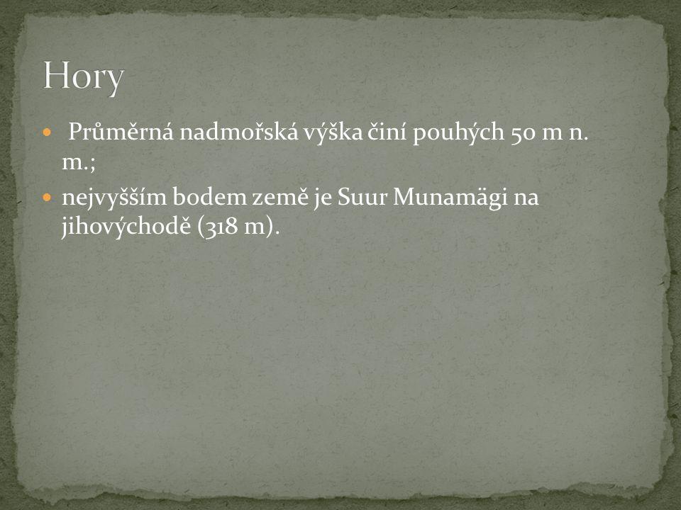 Průměrná nadmořská výška činí pouhých 50 m n. m.; nejvyšším bodem země je Suur Munamägi na jihovýchodě (318 m).