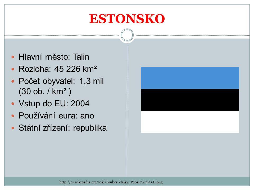 ESTONSKO http://cs.wikipedia.org/wiki/Soubor:Vlajky_Pobalt%C3%AD.png Hlavní město: Talin Rozloha: 45 226 km² Počet obyvatel: 1,3 mil (30 ob. / km² ) V