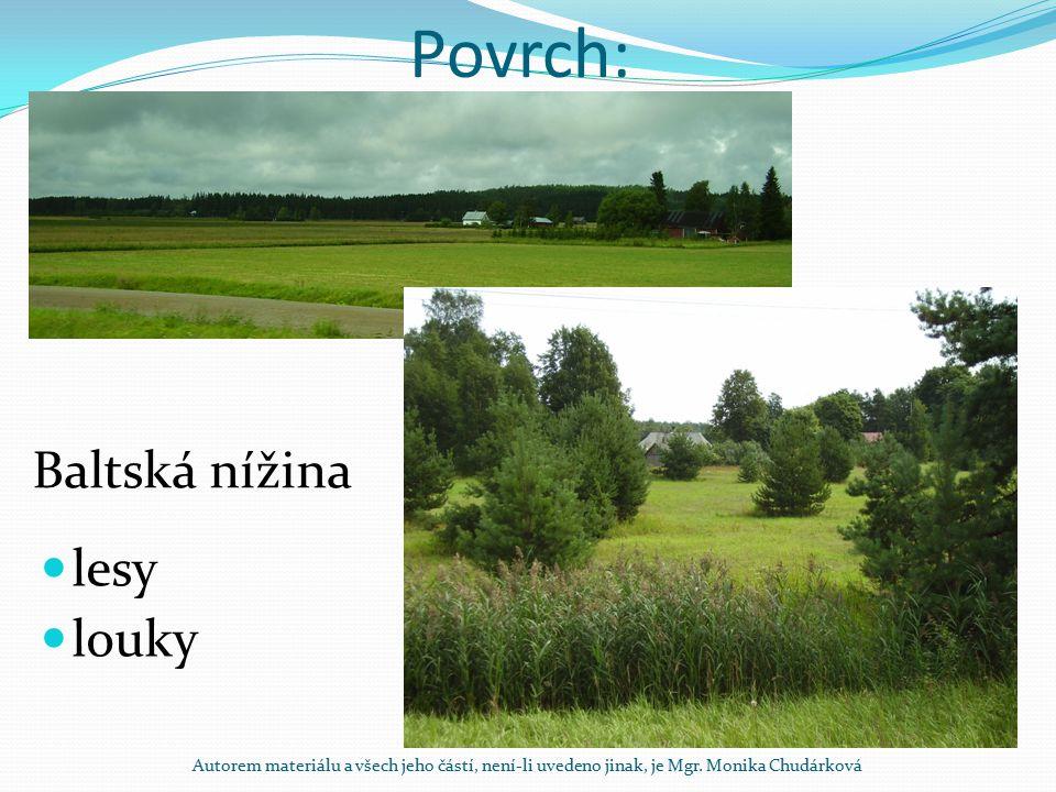 Povrch: lesy louky Baltská nížina Autorem materiálu a všech jeho částí, není-li uvedeno jinak, je Mgr. Monika Chudárková