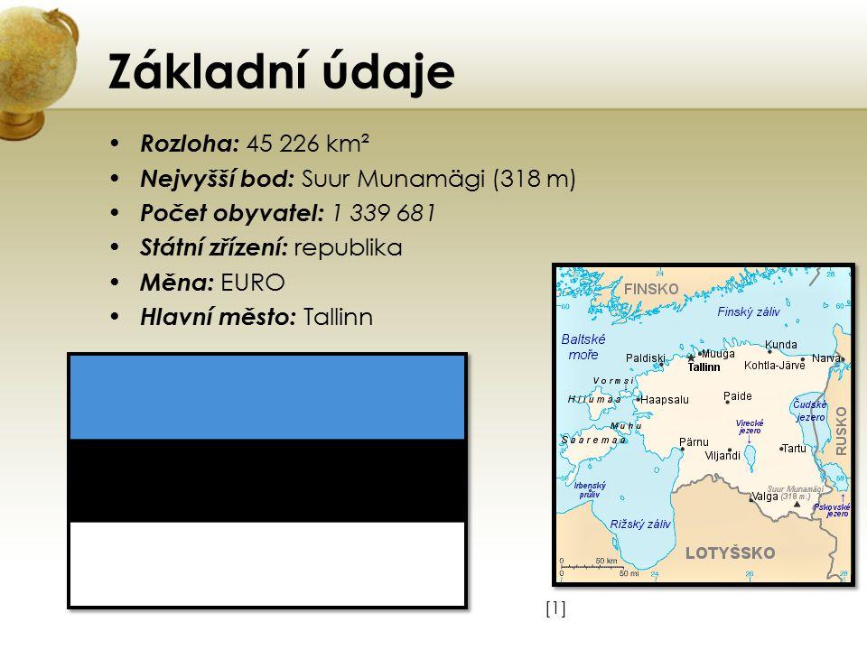 Základní údaje Rozloha: 45 226 km² Nejvyšší bod: Suur Munamägi (318 m) Počet obyvatel: 1 339 681 Státní zřízení: republika Měna: EURO Hlavní město: Ta