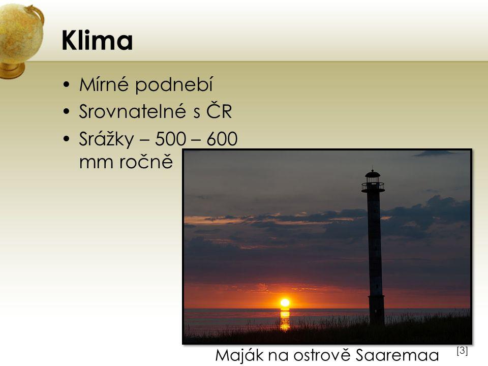 Klima Mírné podnebí Srovnatelné s ČR Srážky – 500 – 600 mm ročně [3][3] Maják na ostrově Saaremaa