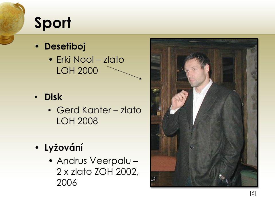 Sport Desetiboj Erki Nool – zlato LOH 2000 Disk Gerd Kanter – zlato LOH 2008 Lyžování Andrus Veerpalu – 2 x zlato ZOH 2002, 2006 [6][6]