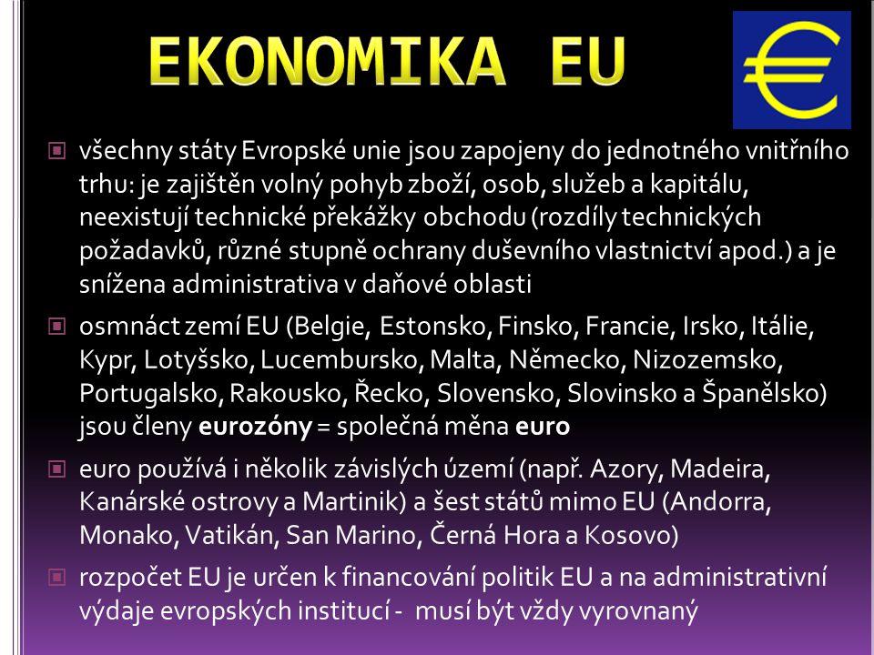 všechny státy Evropské unie jsou zapojeny do jednotného vnitřního trhu: je zajištěn volný pohyb zboží, osob, služeb a kapitálu, neexistují technické p