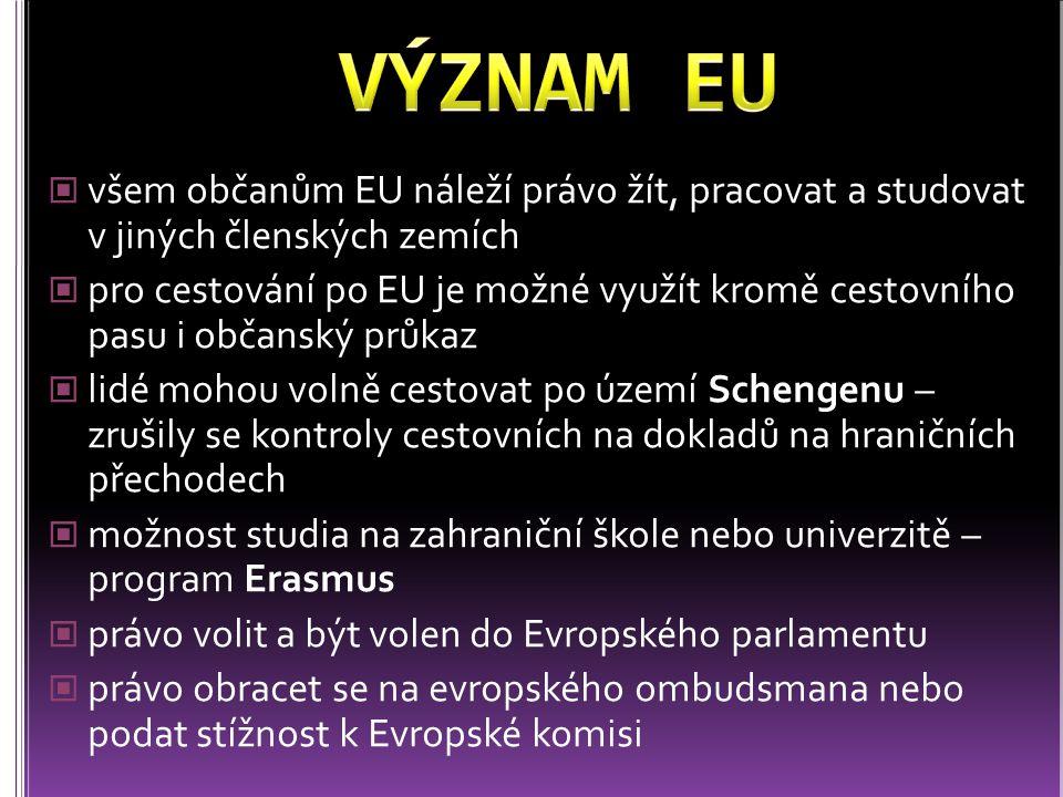 všem občanům EU náleží právo žít, pracovat a studovat v jiných členských zemích pro cestování po EU je možné využít kromě cestovního pasu i občanský p