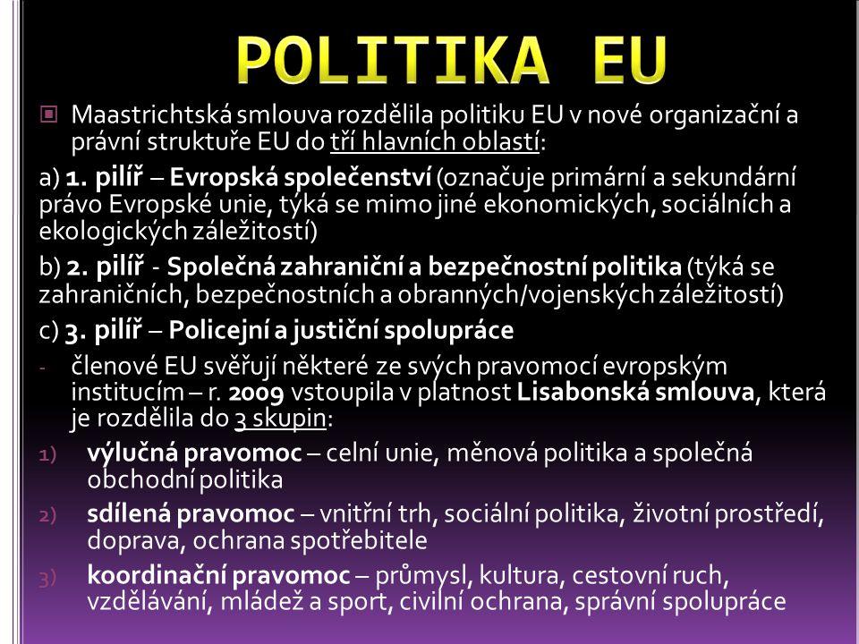 všechny státy Evropské unie jsou zapojeny do jednotného vnitřního trhu: je zajištěn volný pohyb zboží, osob, služeb a kapitálu, neexistují technické překážky obchodu (rozdíly technických požadavků, různé stupně ochrany duševního vlastnictví apod.) a je snížena administrativa v daňové oblasti osmnáct zemí EU (Belgie, Estonsko, Finsko, Francie, Irsko, Itálie, Kypr, Lotyšsko, Lucembursko, Malta, Německo, Nizozemsko, Portugalsko, Rakousko, Řecko, Slovensko, Slovinsko a Španělsko) jsou členy eurozóny = společná měna euro euro používá i několik závislých území (např.