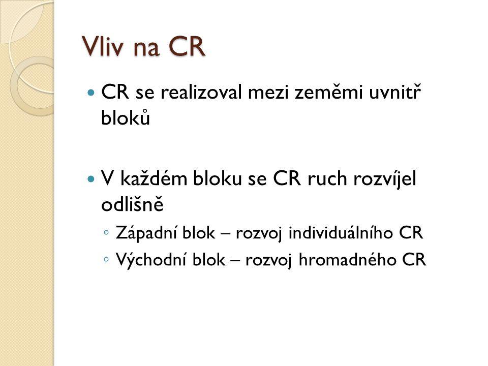 Vliv na CR CR se realizoval mezi zeměmi uvnitř bloků V každém bloku se CR ruch rozvíjel odlišně ◦ Západní blok – rozvoj individuálního CR ◦ Východní blok – rozvoj hromadného CR