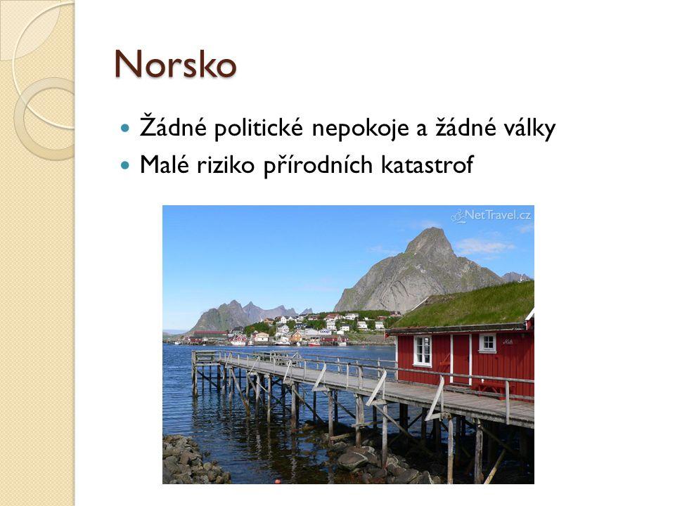 Norsko Žádné politické nepokoje a žádné války Malé riziko přírodních katastrof