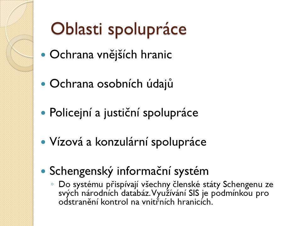 Oblasti spolupráce Ochrana vnějších hranic Ochrana osobních údajů Policejní a justiční spolupráce Vízová a konzulární spolupráce Schengenský informačn