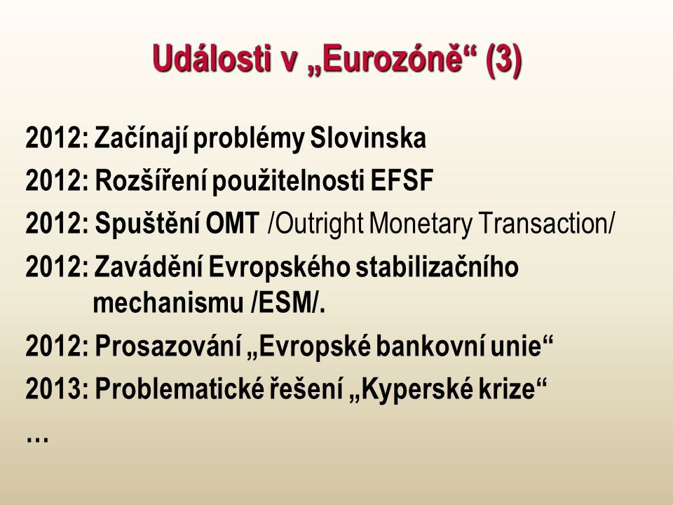 """Události v """"Eurozóně"""" (3) 2012: Začínají problémy Slovinska 2012: Rozšíření použitelnosti EFSF 2012: Spuštění OMT /Outright Monetary Transaction/ 2012"""