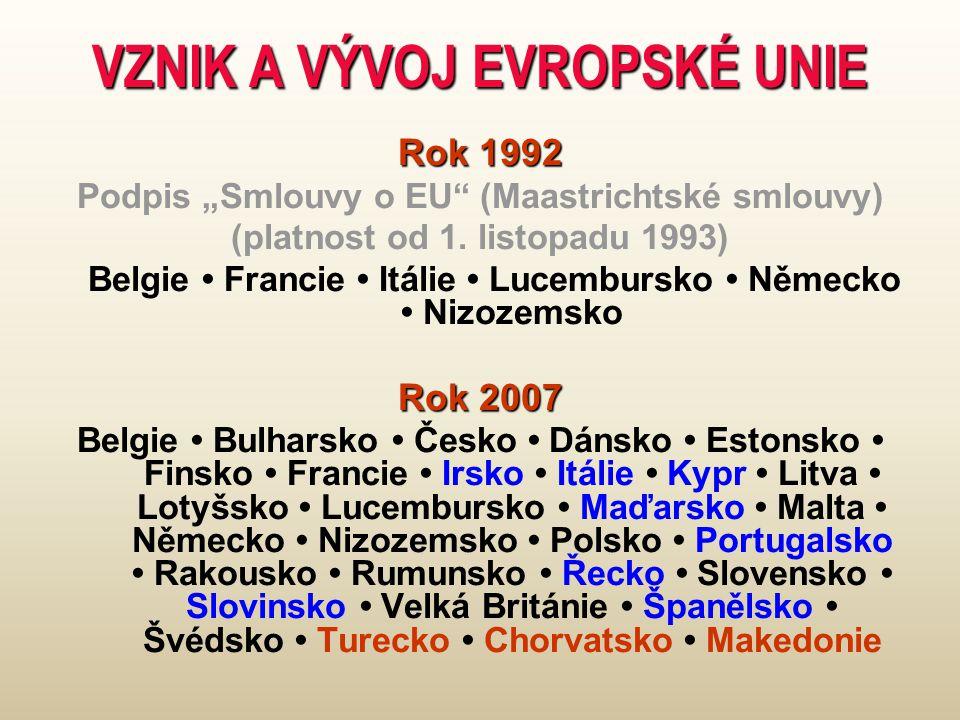 """VZNIK A VÝVOJ EVROPSKÉ UNIE Rok 1992 Podpis """"Smlouvy o EU (Maastrichtské smlouvy) (platnost od 1."""