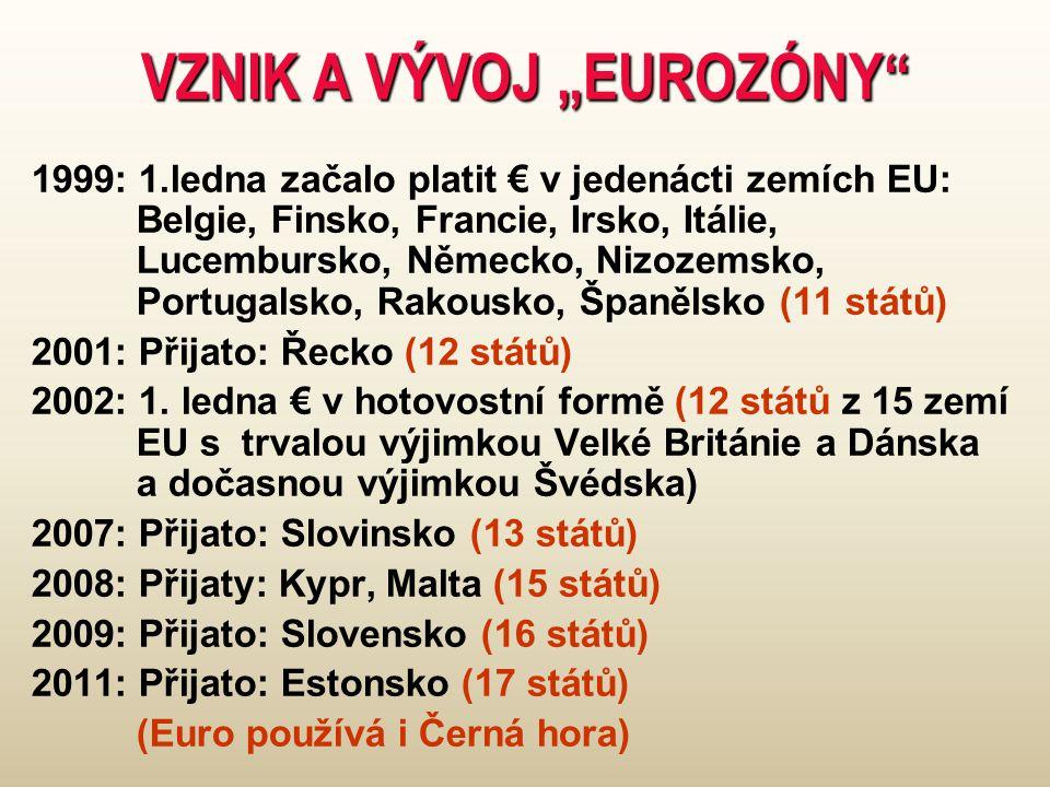 """VZNIK A VÝVOJ """"EUROZÓNY 1999: 1.ledna začalo platit € v jedenácti zemích EU: Belgie, Finsko, Francie, Irsko, Itálie, Lucembursko, Německo, Nizozemsko, Portugalsko, Rakousko, Španělsko (11 států) 2001: Přijato: Řecko (12 států) 2002: 1."""