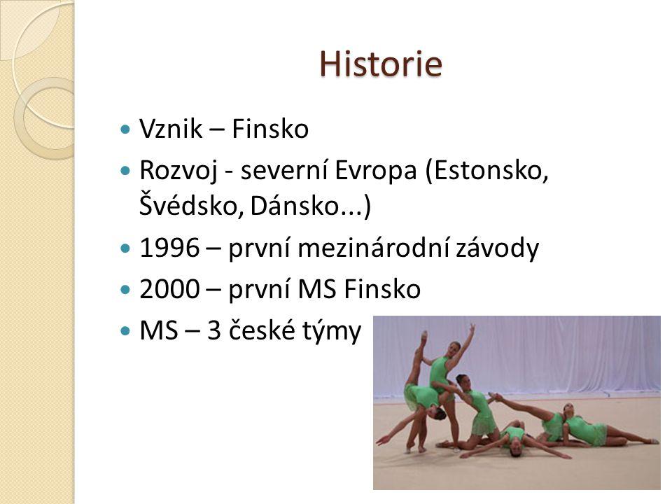Historie Vznik – Finsko Rozvoj - severní Evropa (Estonsko, Švédsko, Dánsko...) 1996 – první mezinárodní závody 2000 – první MS Finsko MS – 3 české tým