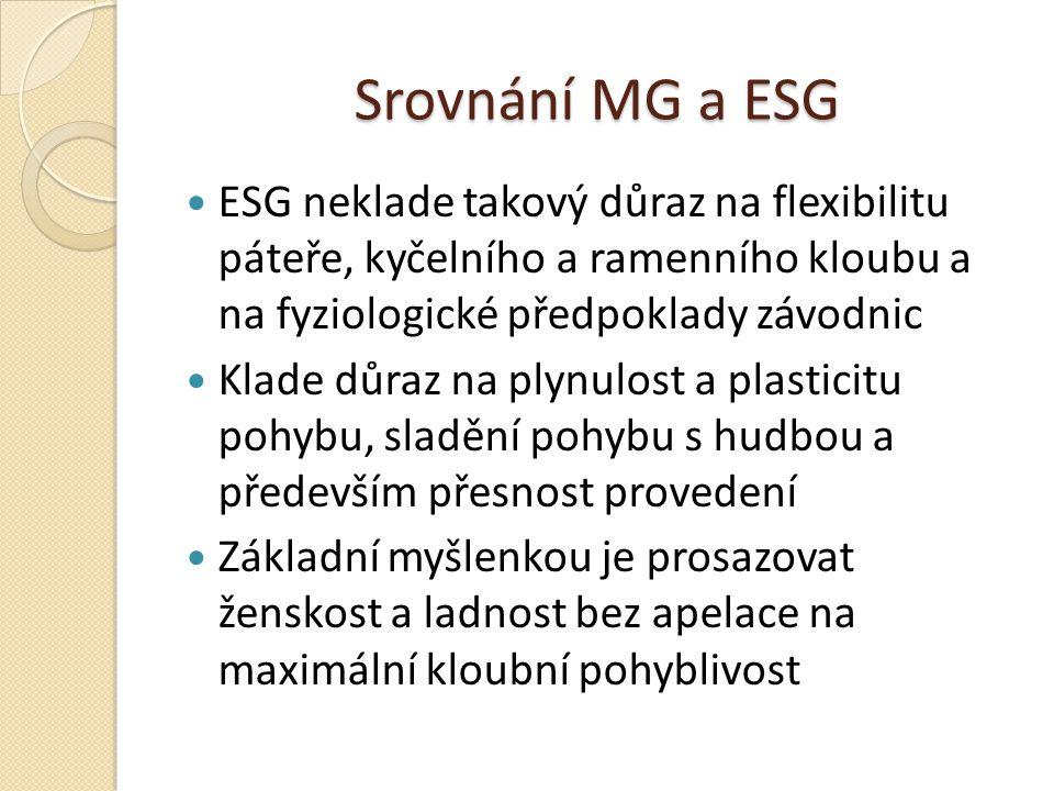 Srovnání MG a ESG ESG neklade takový důraz na flexibilitu páteře, kyčelního a ramenního kloubu a na fyziologické předpoklady závodnic Klade důraz na p