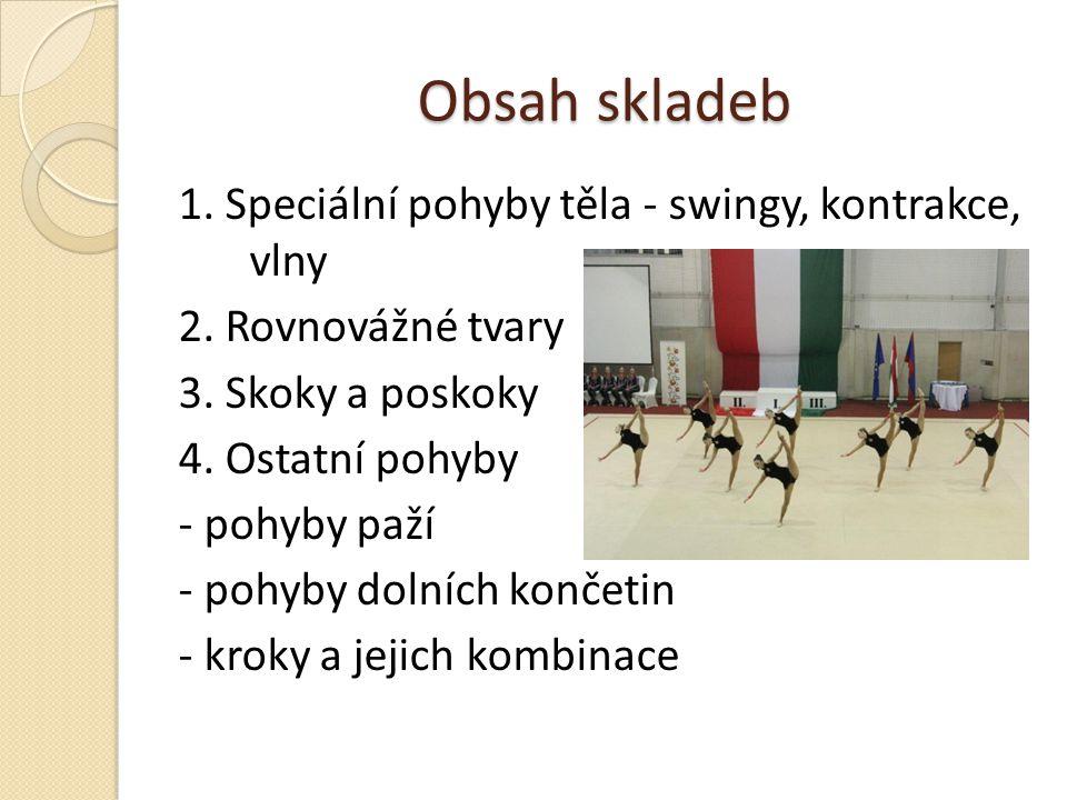 Obsah skladeb 1. Speciální pohyby těla - swingy, kontrakce, vlny 2. Rovnovážné tvary 3. Skoky a poskoky 4. Ostatní pohyby - pohyby paží - pohyby dolní