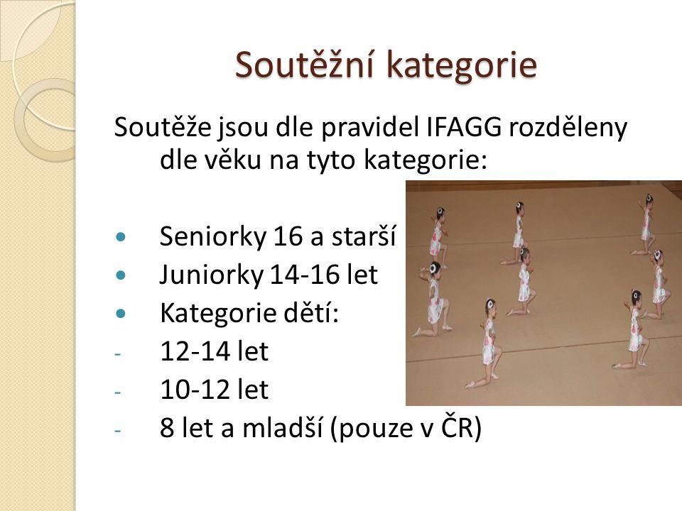 Soutěžní kategorie Soutěže jsou dle pravidel IFAGG rozděleny dle věku na tyto kategorie: Seniorky 16 a starší Juniorky 14-16 let Kategorie dětí: - 12-