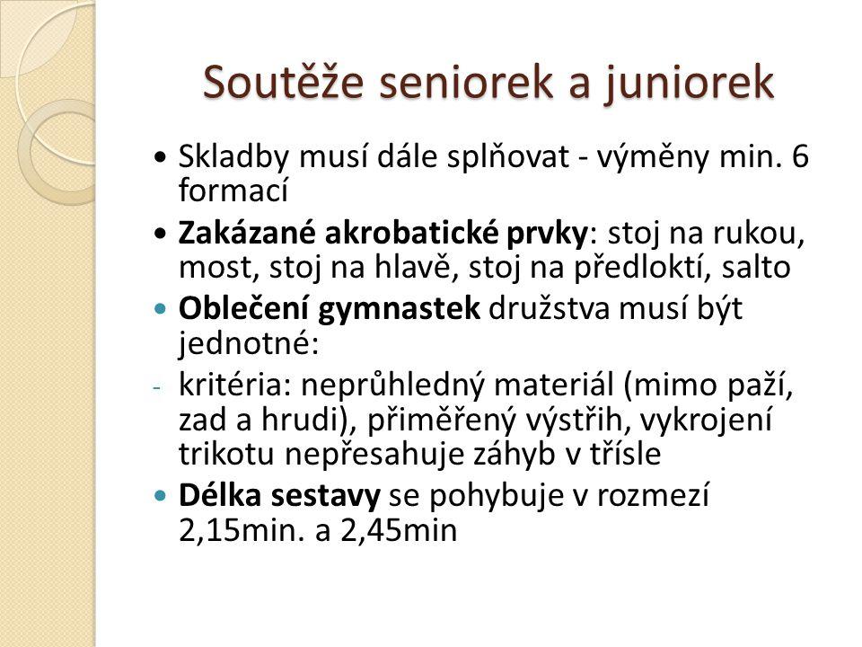 Soutěže seniorek a juniorek Skladby musí dále splňovat - výměny min. 6 formací Zakázané akrobatické prvky: stoj na rukou, most, stoj na hlavě, stoj na