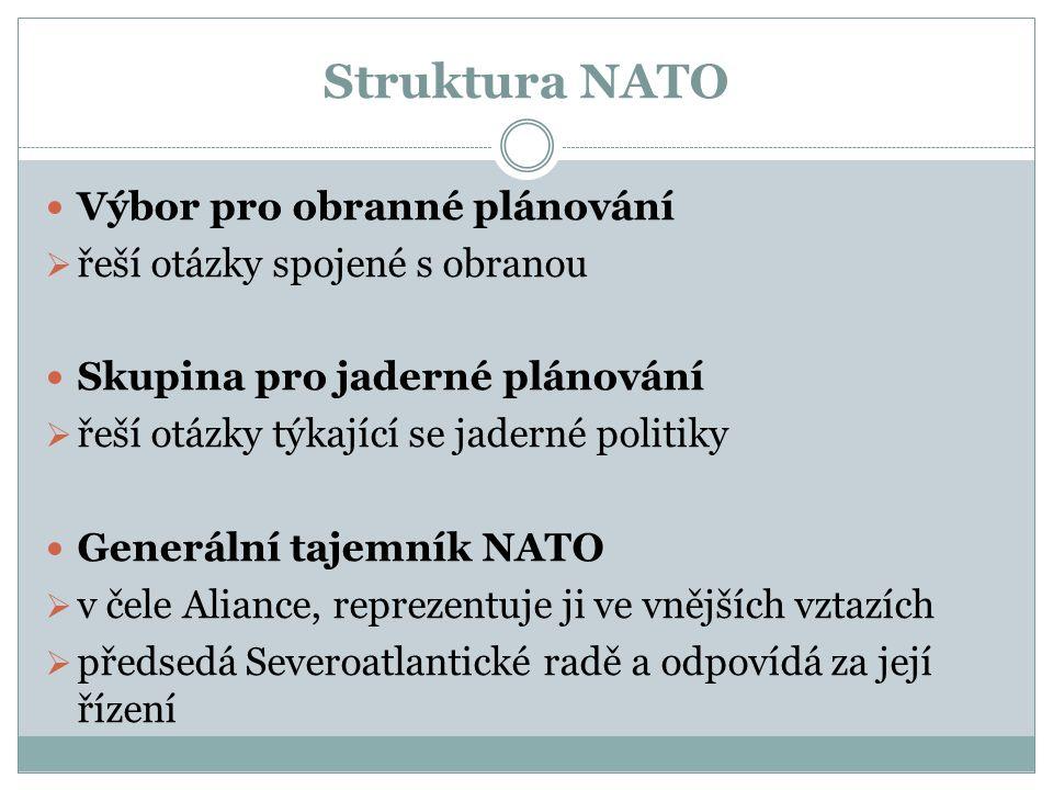 Struktura NATO Výbor pro obranné plánování  řeší otázky spojené s obranou Skupina pro jaderné plánování  řeší otázky týkající se jaderné politiky Generální tajemník NATO  v čele Aliance, reprezentuje ji ve vnějších vztazích  předsedá Severoatlantické radě a odpovídá za její řízení