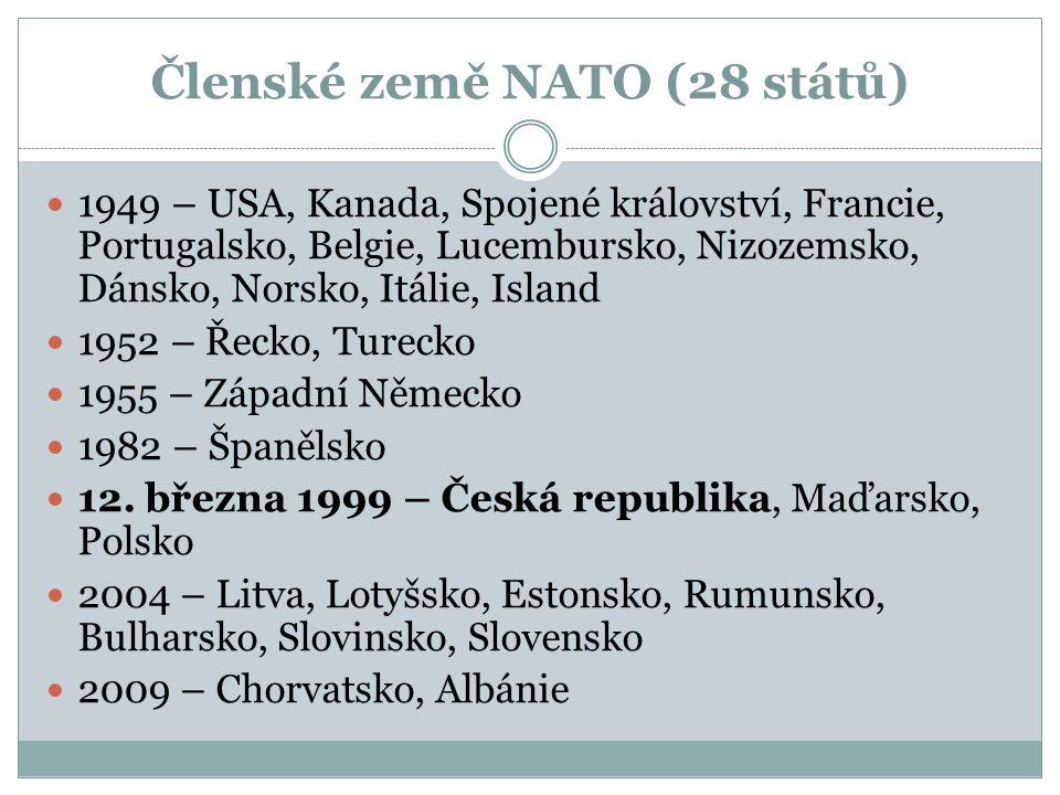 Členské země NATO (28 států) 1949 – USA, Kanada, Spojené království, Francie, Portugalsko, Belgie, Lucembursko, Nizozemsko, Dánsko, Norsko, Itálie, Island 1952 – Řecko, Turecko 1955 – Západní Německo 1982 – Španělsko 12.