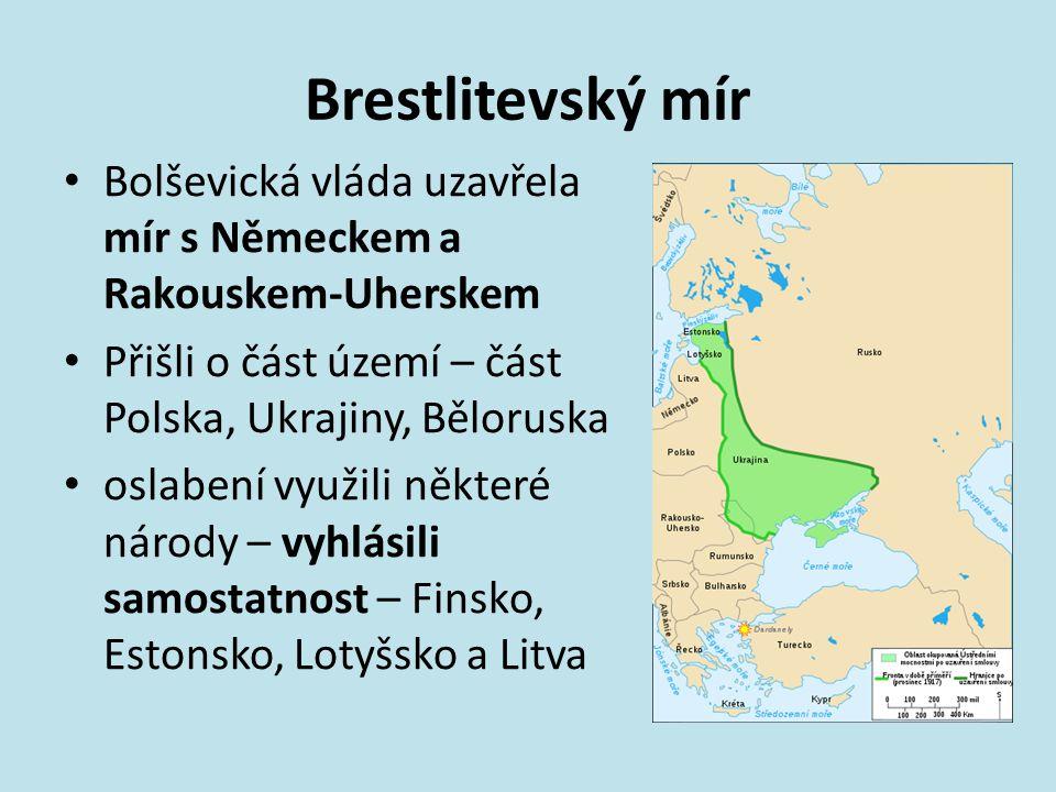 Brestlitevský mír Bolševická vláda uzavřela mír s Německem a Rakouskem-Uherskem Přišli o část území – část Polska, Ukrajiny, Běloruska oslabení využil