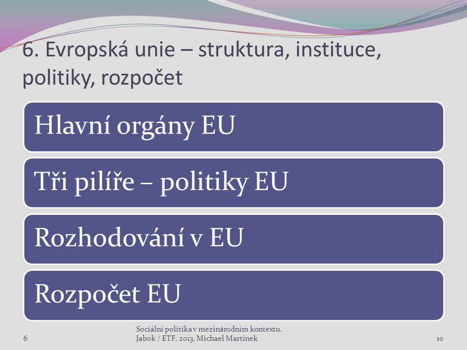 6. Evropská unie – struktura, instituce, politiky, rozpočet Hlavní orgány EUTři pilíře – politiky EURozhodování v EURozpočet EU 6 Sociální politika v