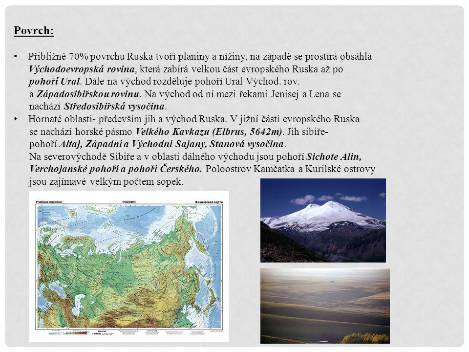 Vodstvo: Ruskou federaci obklopují moře tří světových oceánů – Severního ledového, Tichého a Atlantického.