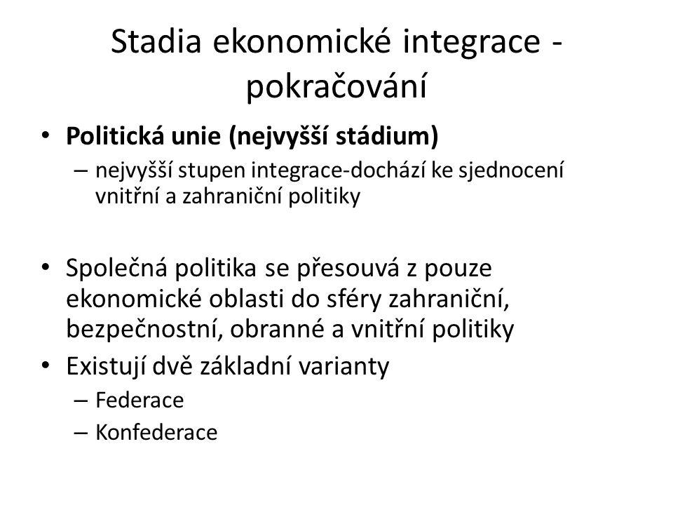 Stadia ekonomické integrace - pokračování Politická unie (nejvyšší stádium) – nejvyšší stupen integrace-dochází ke sjednocení vnitřní a zahraniční pol