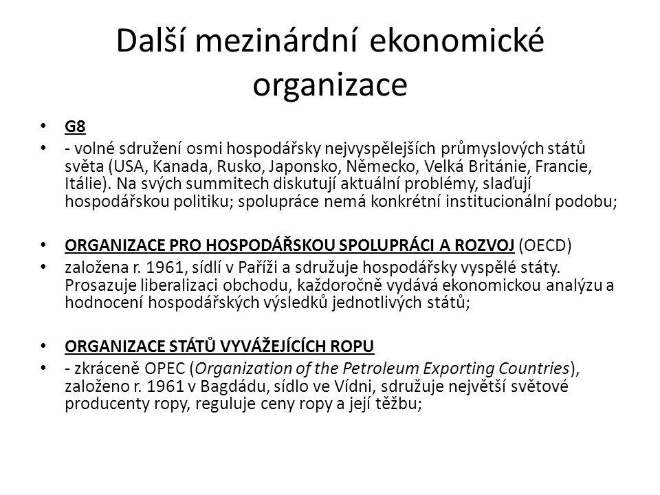 Další mezinárdní ekonomické organizace G8 - volné sdružení osmi hospodářsky nejvyspělejších průmyslových států světa (USA, Kanada, Rusko, Japonsko, Ně