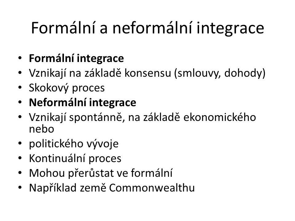 Formální a neformální integrace Formální integrace Vznikají na základě konsensu (smlouvy, dohody) Skokový proces Neformální integrace Vznikají spontán
