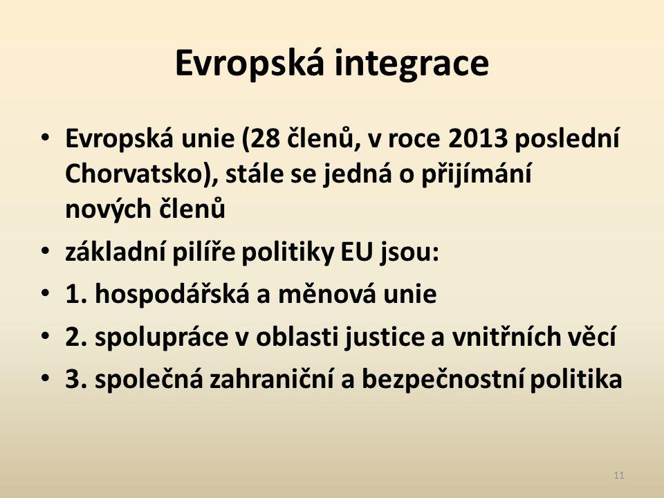 Evropská integrace Evropská unie (28 členů, v roce 2013 poslední Chorvatsko), stále se jedná o přijímání nových členů základní pilíře politiky EU jsou: 1.