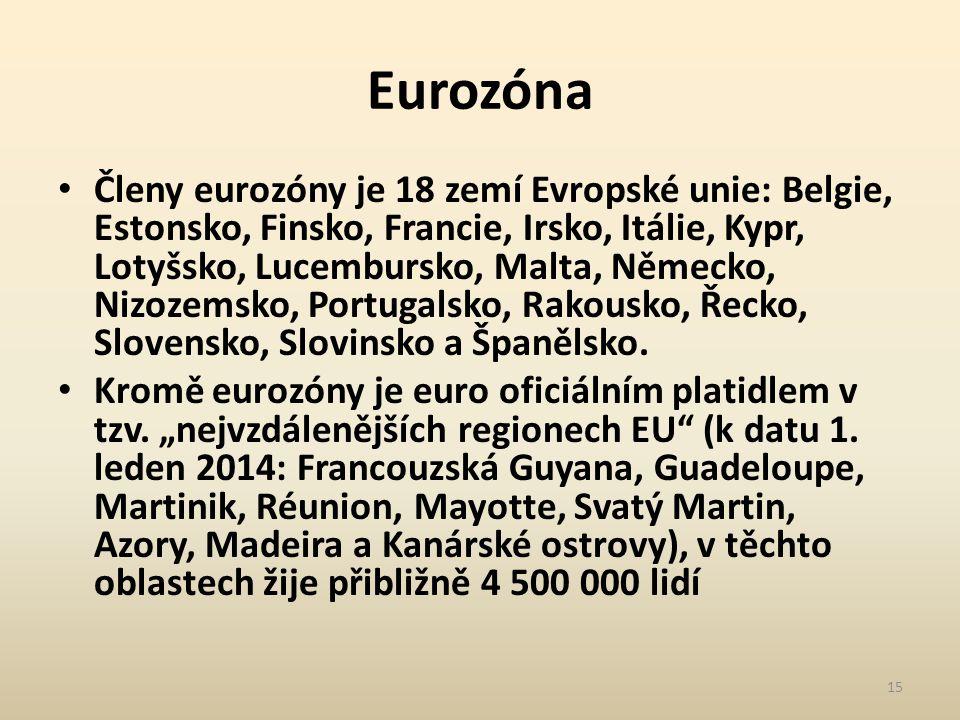 Eurozóna Členy eurozóny je 18 zemí Evropské unie: Belgie, Estonsko, Finsko, Francie, Irsko, Itálie, Kypr, Lotyšsko, Lucembursko, Malta, Německo, Nizozemsko, Portugalsko, Rakousko, Řecko, Slovensko, Slovinsko a Španělsko.