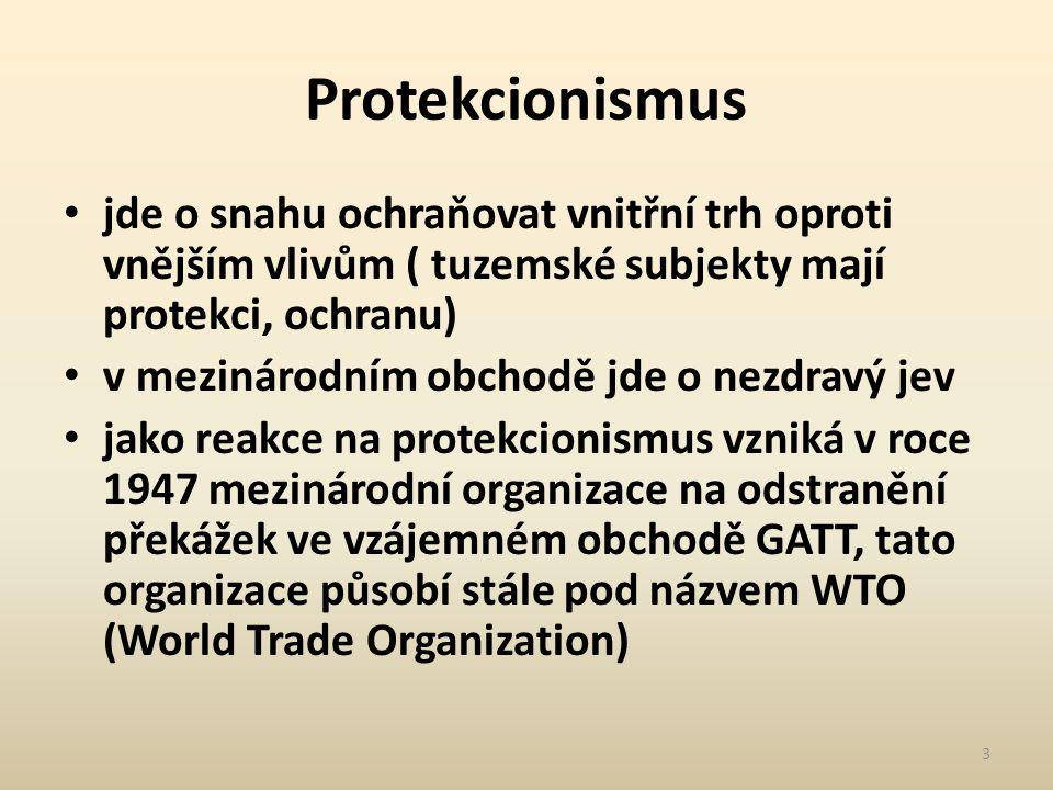 Protekcionismus jde o snahu ochraňovat vnitřní trh oproti vnějším vlivům ( tuzemské subjekty mají protekci, ochranu) v mezinárodním obchodě jde o nezdravý jev jako reakce na protekcionismus vzniká v roce 1947 mezinárodní organizace na odstranění překážek ve vzájemném obchodě GATT, tato organizace působí stále pod názvem WTO (World Trade Organization) 3