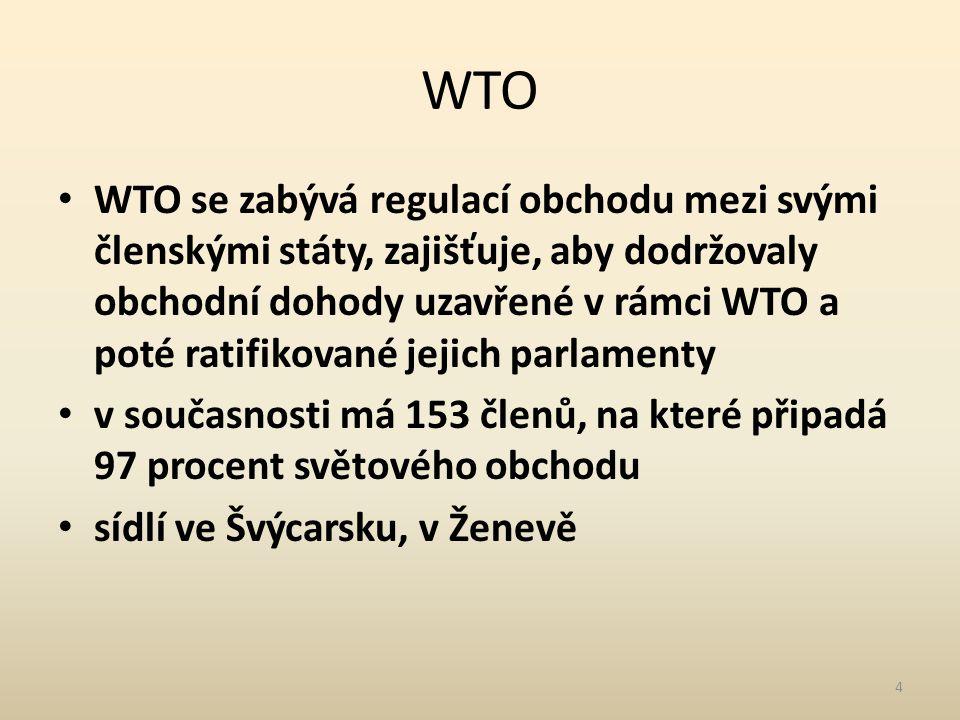 WTO WTO se zabývá regulací obchodu mezi svými členskými státy, zajišťuje, aby dodržovaly obchodní dohody uzavřené v rámci WTO a poté ratifikované jejich parlamenty v současnosti má 153 členů, na které připadá 97 procent světového obchodu sídlí ve Švýcarsku, v Ženevě 4