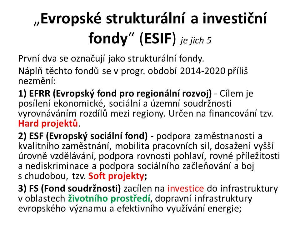 """""""Evropské strukturální a investiční fondy (ESIF) je jich 5 První dva se označují jako strukturální fondy."""