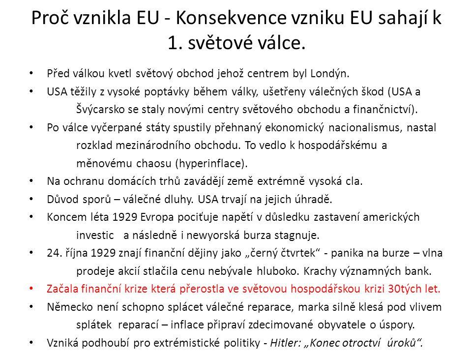 Proč vznikla EU - Konsekvence vzniku EU sahají k 1.