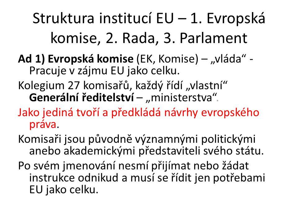 Struktura institucí EU – 1.Evropská komise, 2. Rada, 3.