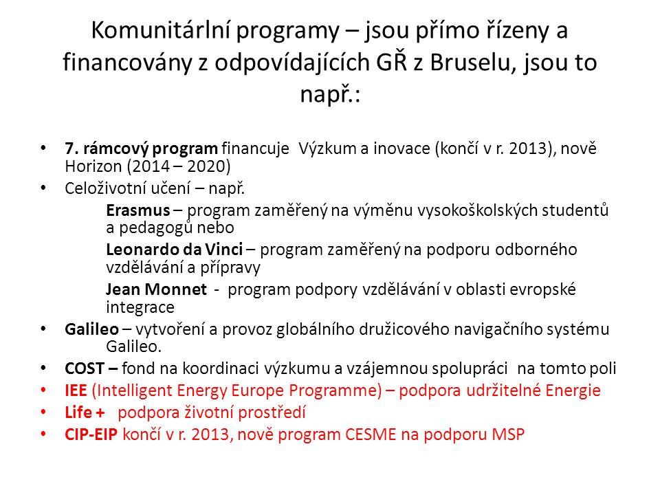 Komunitárlní programy – jsou přímo řízeny a financovány z odpovídajících GŘ z Bruselu, jsou to např.: 7.