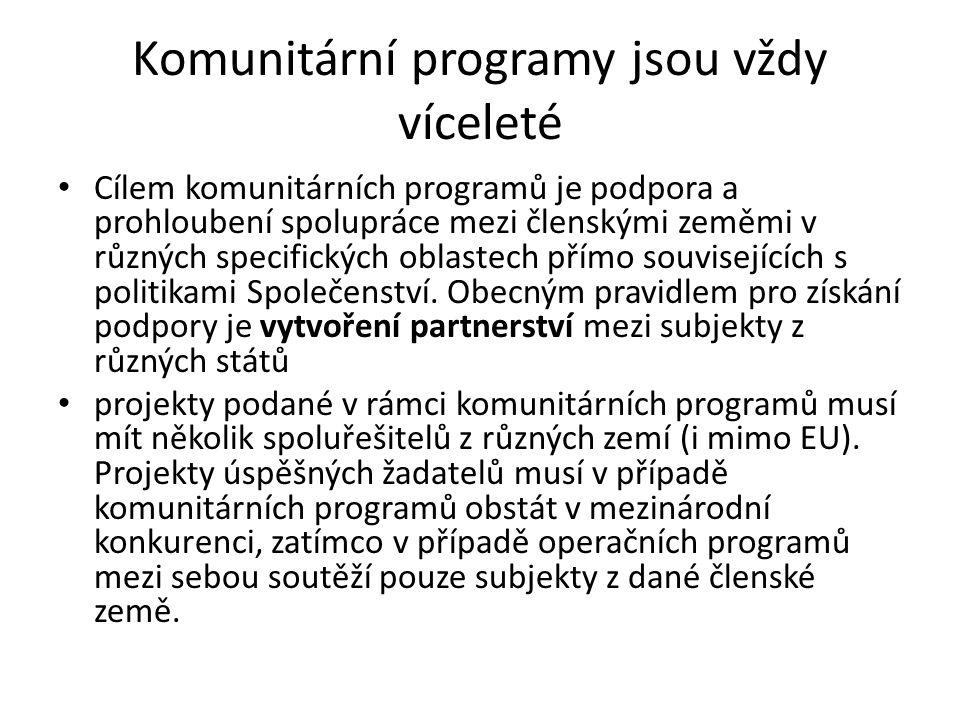 Komunitární programy jsou vždy víceleté Cílem komunitárních programů je podpora a prohloubení spolupráce mezi členskými zeměmi v různých specifických oblastech přímo souvisejících s politikami Společenství.