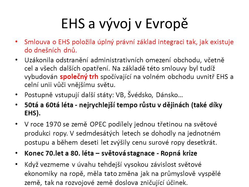 EHS a vývoj v Evropě Smlouva o EHS položila úplný právní základ integraci tak, jak existuje do dnešních dnů.