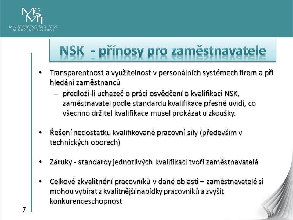 7 Transparentnost a využitelnost v personálních systémech firem a při hledání zaměstnanců Transparentnost a využitelnost v personálních systémech firem a při hledání zaměstnanců – předloží-li uchazeč o práci osvědčení o kvalifikaci NSK, zaměstnavatel podle standardu kvalifikace přesně uvidí, co všechno držitel kvalifikace musel prokázat u zkoušky.
