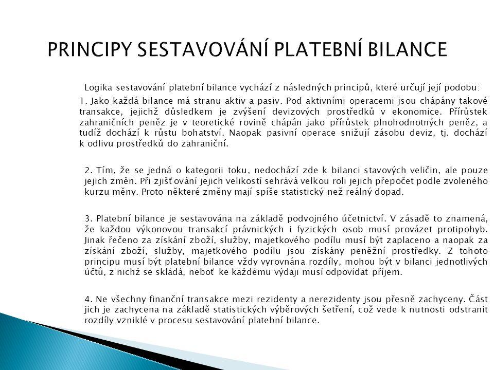 PRINCIPY SESTAVOVÁNÍ PLATEBNÍ BILANCE Logika sestavování platební bilance vychází z následných principů, které určují její podobu: 1. Jako každá bilan