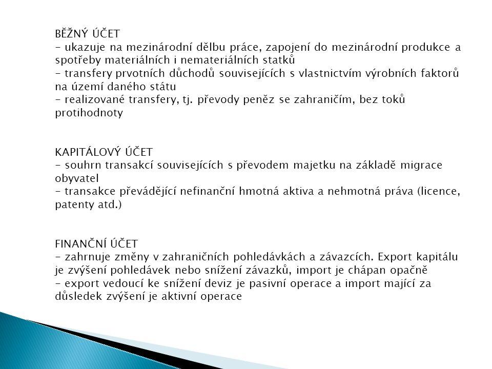 BĚŽNÝ ÚČET - ukazuje na mezinárodní dělbu práce, zapojení do mezinárodní produkce a spotřeby materiálních i nemateriálních statků - transfery prvotníc