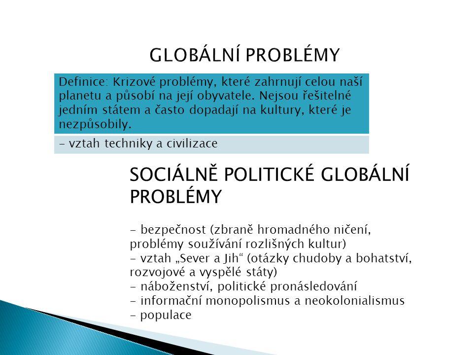 Definice: Krizové problémy, které zahrnují celou naší planetu a působí na její obyvatele. Nejsou řešitelné jedním státem a často dopadají na kultury,