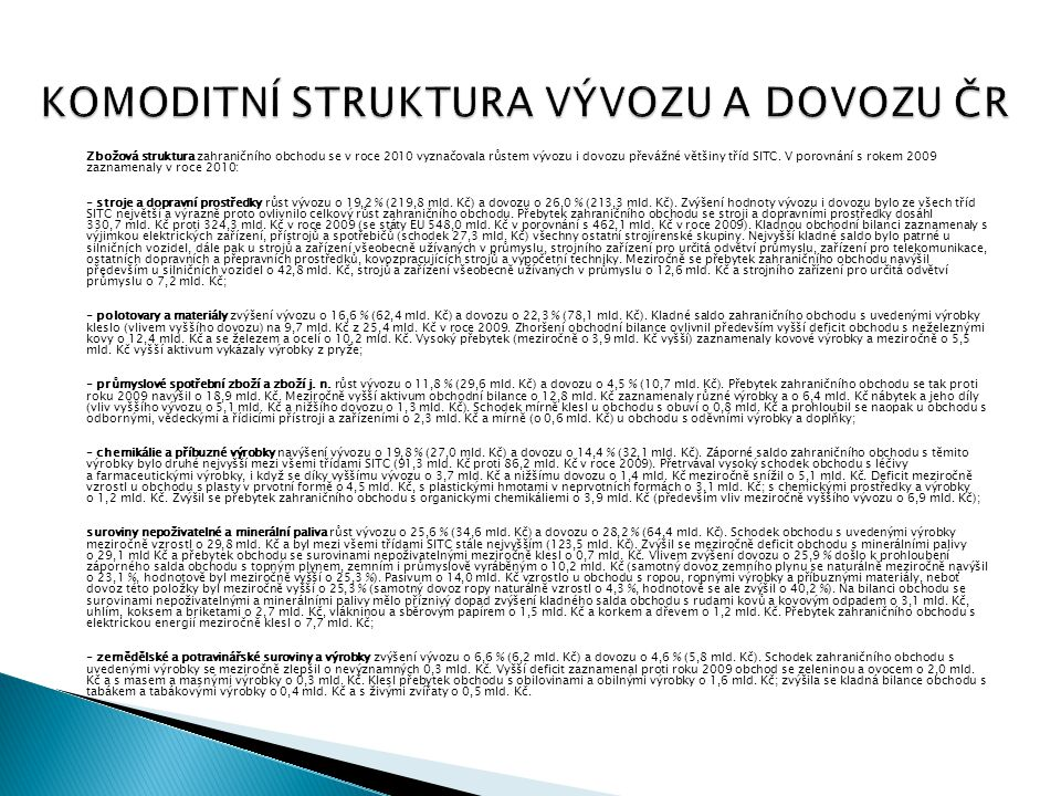 KOMODITNÍ STRUKTURA VÝVOZU A DOVOZU ČR Zbožová struktura zahraničního obchodu se v roce 2010 vyznačovala růstem vývozu i dovozu převážné většiny tříd
