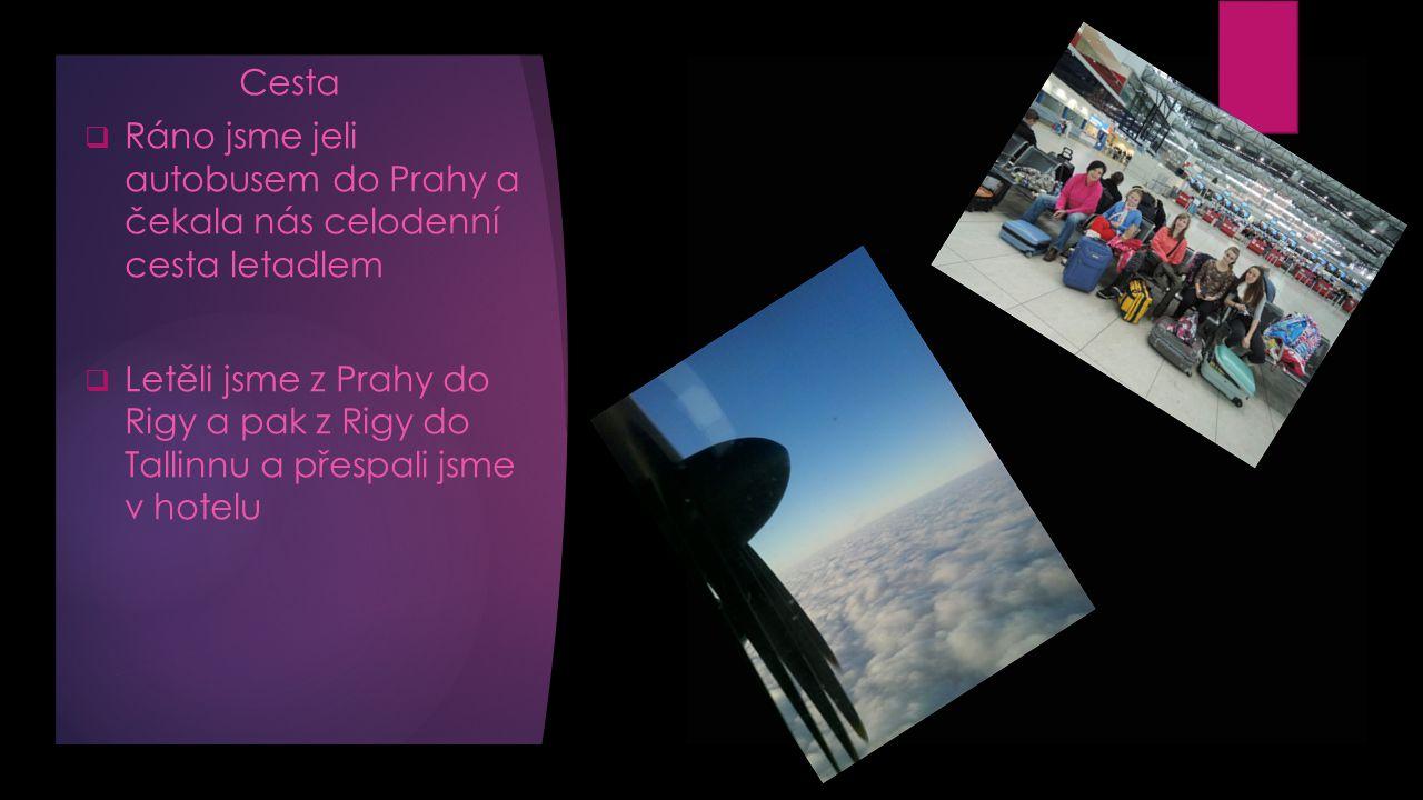 Cesta  Ráno jsme jeli autobusem do Prahy a čekala nás celodenní cesta letadlem  Letěli jsme z Prahy do Rigy a pak z Rigy do Tallinnu a přespali jsme v hotelu