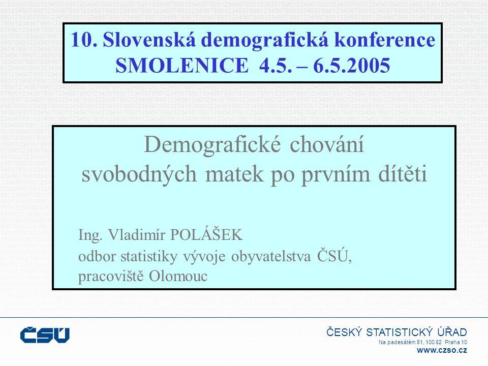 ČESKÝ STATISTICKÝ ÚŘAD Na padesátém 81, 100 82 Praha 10 www.czso.cz 10. Slovenská demografická konference SMOLENICE 4.5. – 6.5.2005 Demografické chová