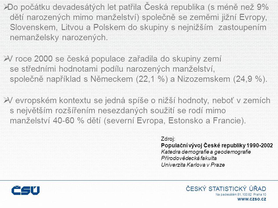 ČESKÝ STATISTICKÝ ÚŘAD Na padesátém 81, 100 82 Praha 10 www.czso.cz  Do počátku devadesátých let patřila Česká republika (s méně než 9% dětí narozených mimo manželství) společně se zeměmi jižní Evropy, Slovenskem, Litvou a Polskem do skupiny s nejnižším zastoupením nemanželsky narozených.